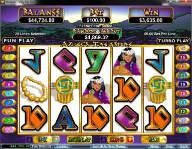 Uptown Aces featuring the video-Slots Aztec's Treasure with a maximum payout of $250,000