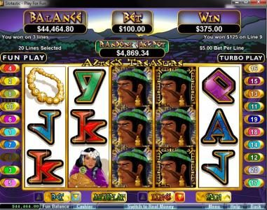 Captain Jacks featuring the video-Slots Aztec's Treasure with a maximum payout of $250,000