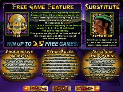 Play slots at Exclusive: Exclusive featuring the Video Slots Aztec's Treasure Feature Guarantee with a maximum payout of $250,000