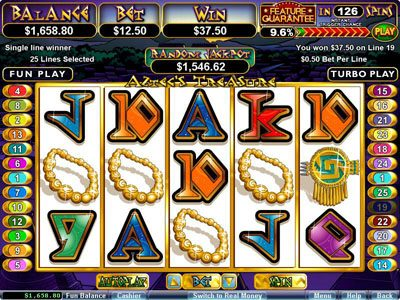 Slots Oasis featuring the Video Slots Aztec's Treasure Feature Guarantee with a maximum payout of $250,000