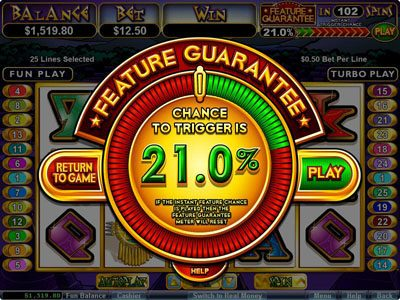 Kudos featuring the Video Slots Aztec's Treasure Feature Guarantee with a maximum payout of $250,000