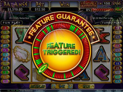 Ruby Slots featuring the Video Slots Aztec's Treasure Feature Guarantee with a maximum payout of $250,000