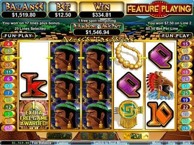 Cherry Jackpot featuring the Video Slots Aztec's Treasure Feature Guarantee with a maximum payout of $250,000