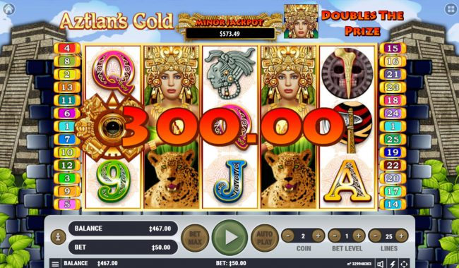 Triple Aces featuring the Video Slots Aztlan's Gold with a maximum payout of $4,000,000