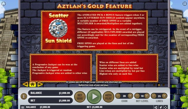 Casino Moons featuring the Video Slots Aztlan's Gold with a maximum payout of $4,000,000