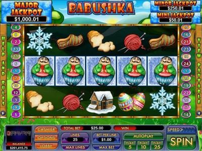 Slot Madness featuring the Video Slots Babushka with a maximum payout of $2,500