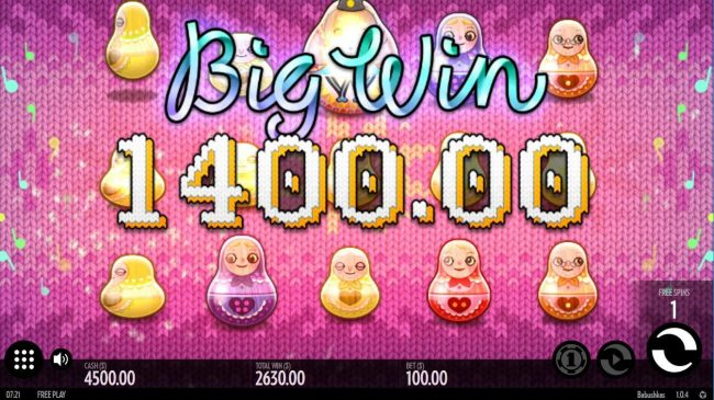 Symbols upgrade leads to a 1,400.00 big win during the free spins feature.
