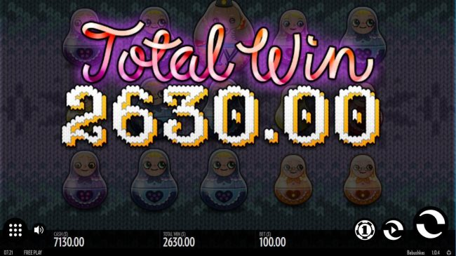 Free Spins feature pays out a total of 2,630.00
