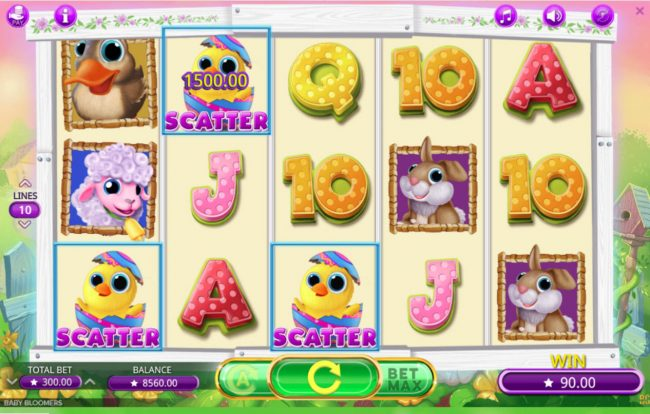 Betchan featuring the Video Slots Baby Bloomers with a maximum payout of $30,000