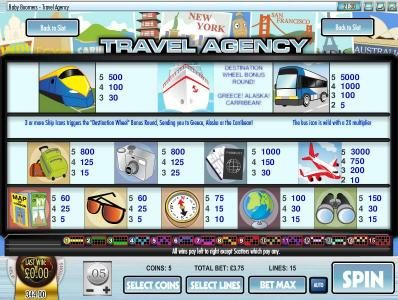 Baby Boomers Cash Cruise :: slot game symbols paytable and payline diagrams