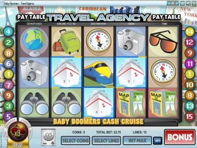 Pantasia featuring the Video Slots Baby Boomers Cash Cruise with a maximum payout of $25,000