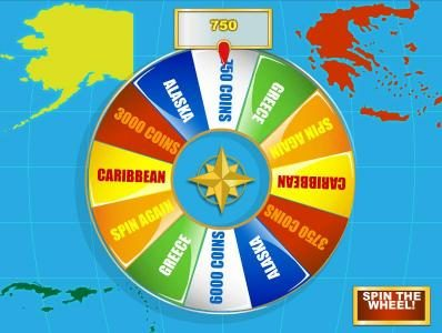 bonus feature game board - a spiinng the wheel we landed on a 750 coin jackpot payout