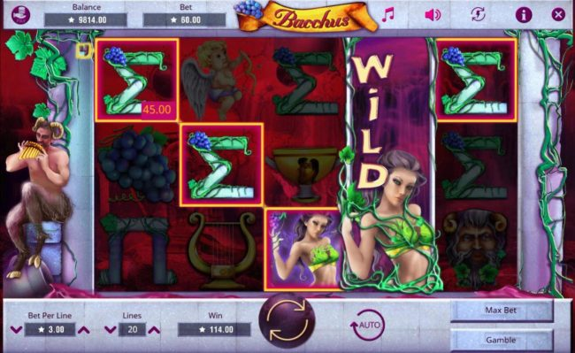 Play slots at Go Wild: Go Wild featuring the Video Slots Bacchus with a maximum payout of $75,000