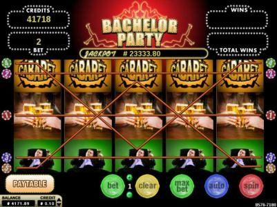 Bachelor Party :: Main game board featuring five reels and 5 paylines with a $2,400 max payout