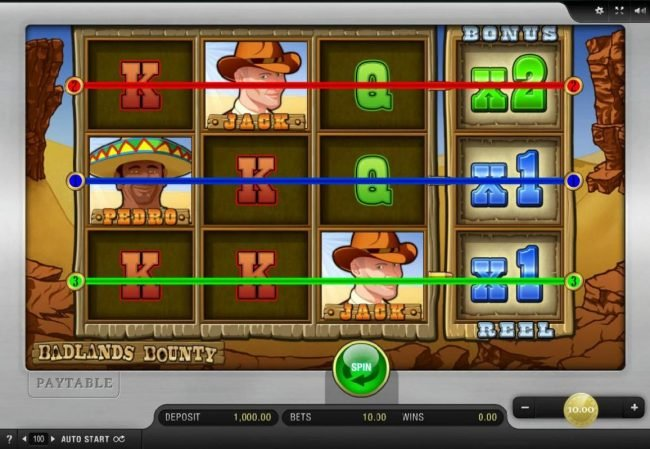 Play slots at Scatters: Scatters featuring the Video Slots Badlands Bounty with a maximum payout of $2,500