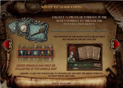 Baker Street :: collect 10 pieces of evidence in the bonus symbols to trigger the investigation bonus feature