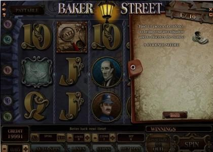 Baker Street :: during the game - pieces of evidence will appear - collect all ten pieces in order to trigger the investigation bonus feature