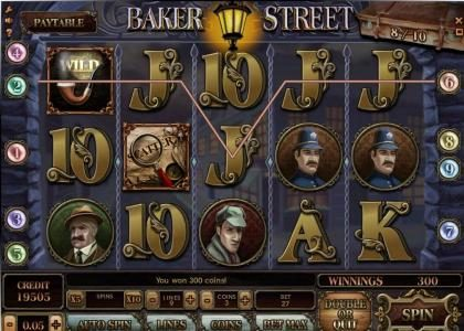 Baker Street :: five of kind triggers a 300 coin big win
