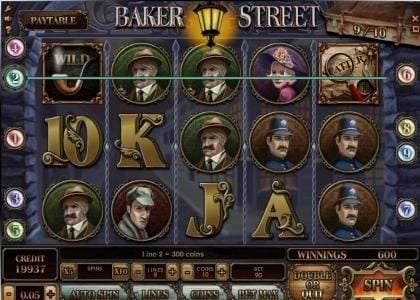 Baker Street :: 2 three of a kind triggers a 600 coin big win