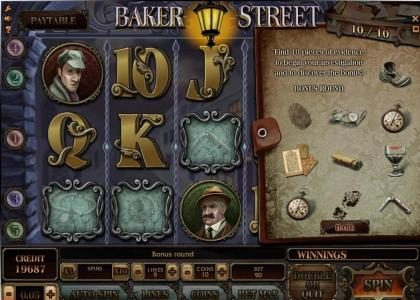 Baker Street :: after collecting all 10 pieces of evidence the investigation bonus feature is triggered