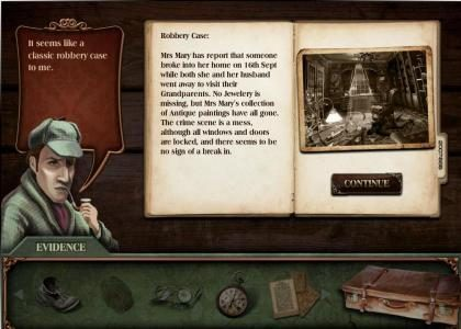 Baker Street :: after choosing a case to solve - read the details in order to help you select evidence in order to solve the case