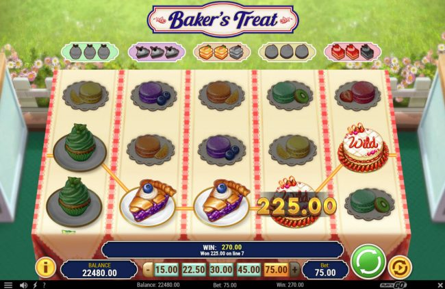 Jellybean Casino featuring the Video Slots Baker's Treat with a maximum payout of $375,000