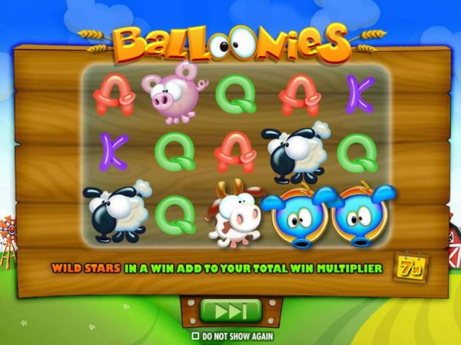 Jackpot Mobile featuring the Video Slots Balloonies Farm with a maximum payout of $250,000