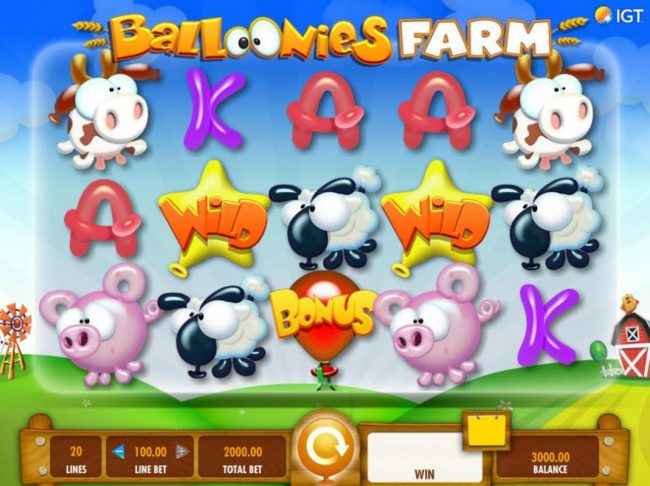 A farm animal themed main game board featuring five reels and 20 paylines with a $250,000 max payout