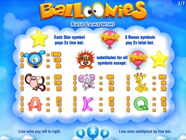 Base Game Slot Game Symbols Paytable