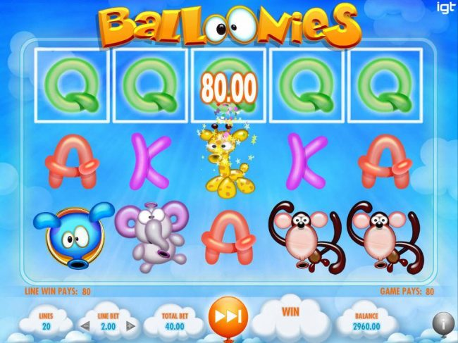 A five of a kind awards an 80.00 line pay. Floating Reel Feature is triggered with every winning combination. Winning symbols are removed and replaced with new symbols from below.
