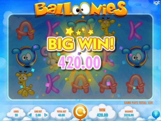 A 420.00 Big Win triggered by a 5x star multiplier and a five of a kind.