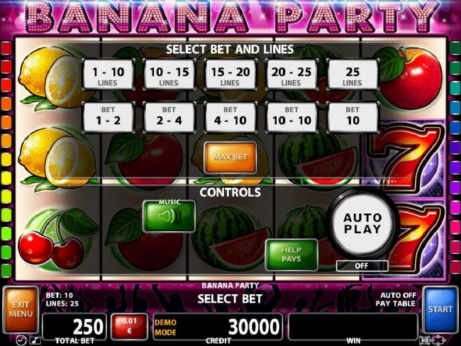 21 Nova featuring the Video Slots Banana Party with a maximum payout of $125,000