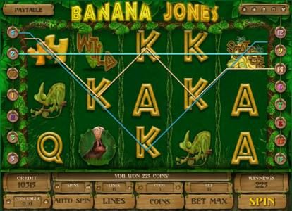 Rose Slots featuring the Video Slots Banana Jones with a maximum payout of $120,000