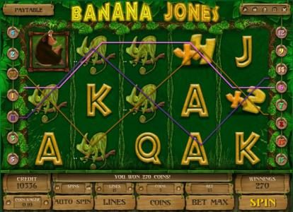 Triple Aces featuring the Video Slots Banana Jones with a maximum payout of $120,000