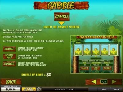 Noble featuring the Video Slots Banana Monkey with a maximum payout of $12,500
