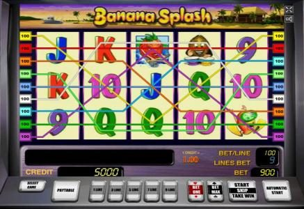 Banana Splash :: Main game board featuring five reels and 9 paylines with a $150,000 max payout. The game features a tropical fruit theme.