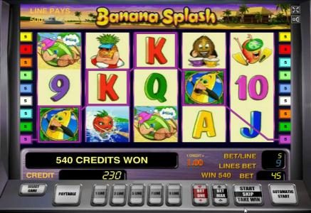 Banana Splash :: Multiple winning paylines triggers a 540 coin big win!