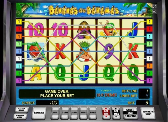 A tropical vacation themed main game board featuring five reels and 9 paylines with a $90,000 max payout