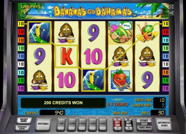 Bananas Go Bahamas :: A winning Three of a Kind pays out a 200 coin win.