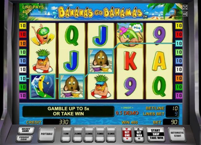 Bananas Go Bahamas :: Multiple winning paylines triggers a 480 coin big win!