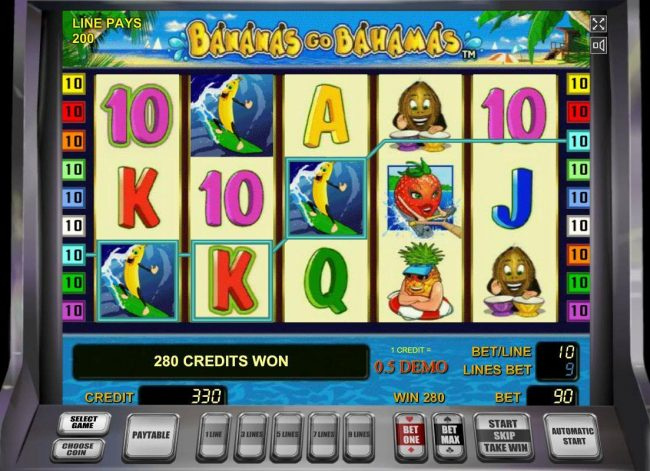 Bananas Go Bahamas :: A 280 credit big win triggered by multiple wiining combinations.