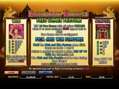 wild, scatter and free games feature paytable and rules