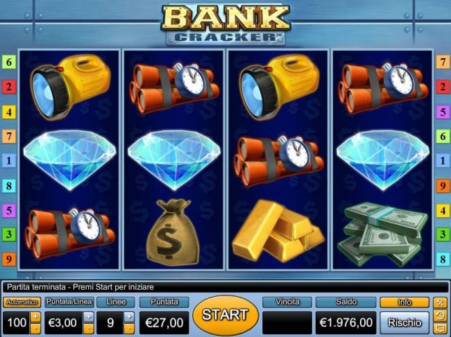 Hyper Casino featuring the Video Slots Bank Cracker with a maximum payout of $3,000