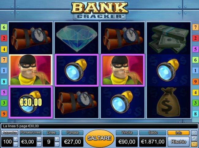 Multiple winning paylines triggers a 90.00 jackpot