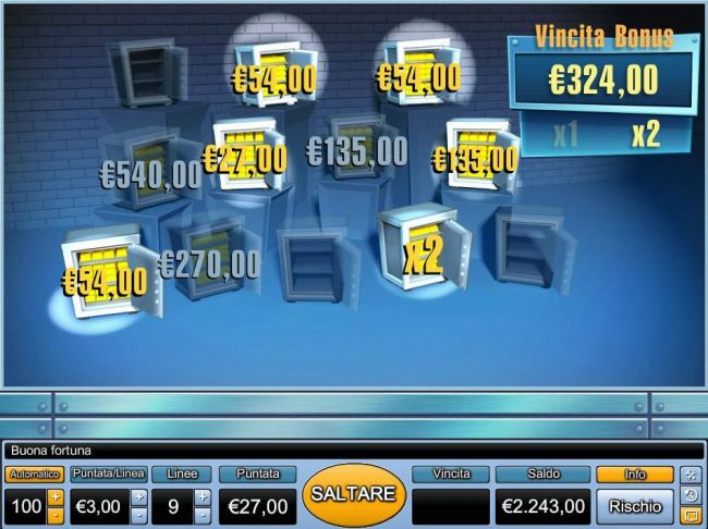 With the selection made a 324.00 prize award with a 2x multiplier