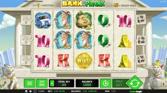 Bank or Prank :: Main game board featuring five reels and 243 winning ways with a $72,900 max payout.