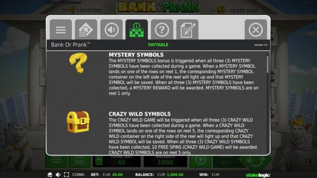 Bank or Prank :: Mystery Symbols and Crazy Wild Symbols Rules