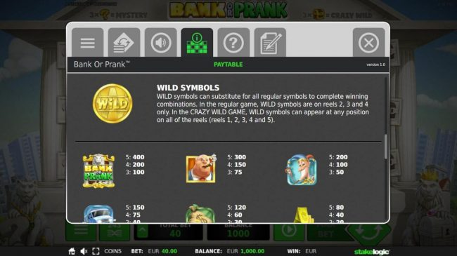 Bank or Prank :: Wild Symbol and High Value Symbols Paytable