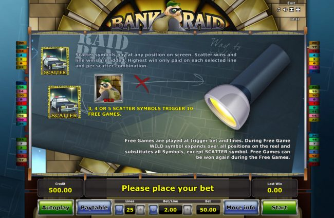 Casumo featuring the Video Slots Bank Raid with a maximum payout of $25,000