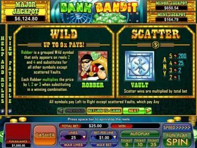 Play slots at Slot Madness: Slot Madness featuring the Video Slots Bank Bandit with a maximum payout of Jackpot